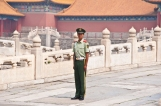 Beijing: This soldier stands guard at the Forbidden City. He looks so young and alone.