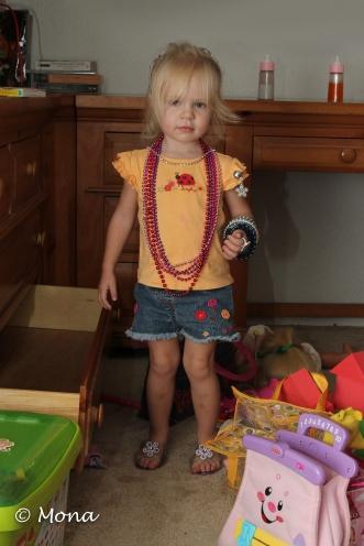 Sparkling Beads, Bracelets, Princess High Heeled Slippers, Princess Crown, and ATTITUDE!