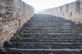 The steps are narrow and sometimes steep because the wall follows the ridges of the mountain.