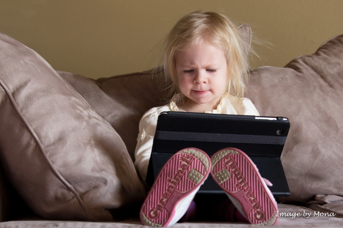 """She said, """"Daddy's iPad is broken...I spilled apple juice on it."""""""