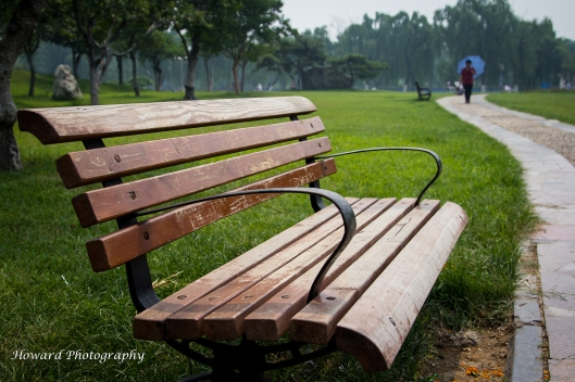 Park Bench in Feicheng City, Shandong Province, China. July 2013