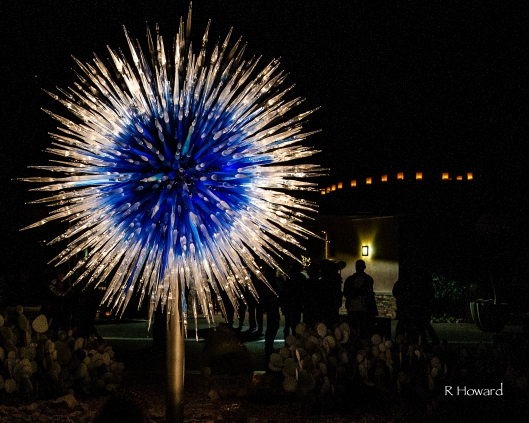 A starburst of blazing blue captures the guests' attention as they enter the park.